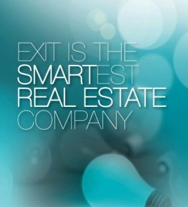 Abstract with Light Bulb and the words Exit Is The Smartest Real Estate Company